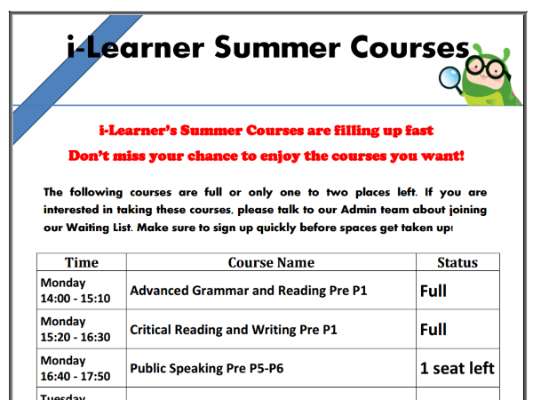 Poster for Parents - Courses Full