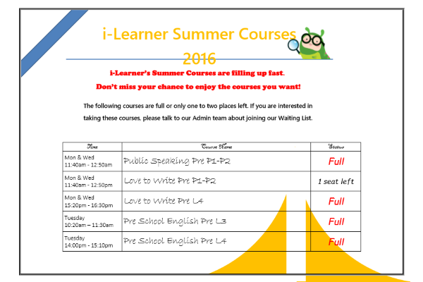 Parents Reminder - Courses Full 2016 summer